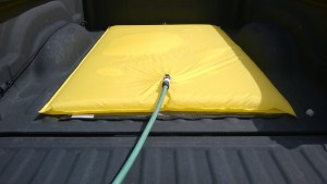 Bag and movers mat in truck