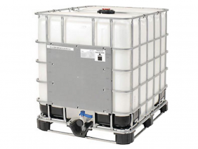 275 Gallon Poly Tote in steel cage