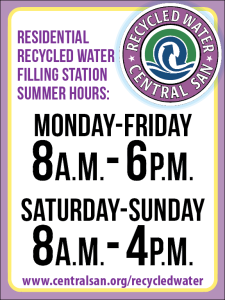 New Hours @ CCCSD recycled water fill station.