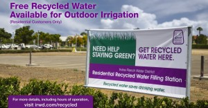 Recycled water for outdoor irrigation.