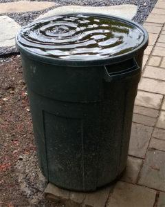 Trash cans work as rain barrels