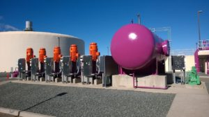 Five large recycled water pumps feed pipeline.