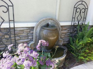 Recycled water keeps this fountain full.