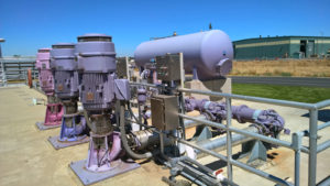 One of three recycled water pumps is always running.