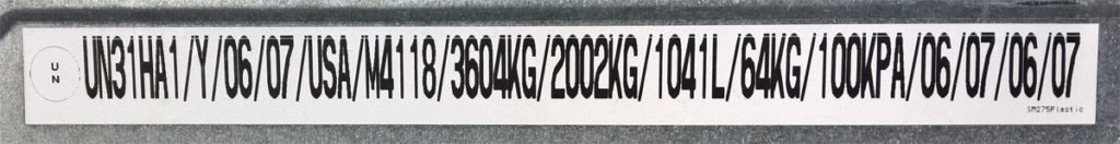 275 gallon IBC Tote Label