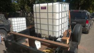 IBC tote on utility trailer